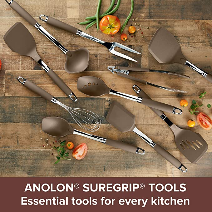 Anolon 47259 Suregrip Dishwasher Safe Nonstick Locking Cooking Tongs Salad Serving Tools Nylon Bronze Brown Amazon Co Uk Kitchen Home