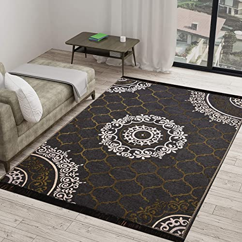 Vram 6D Designer Superfine Exclusive Velvet Carpet Rug Living Room Bedroom Hall School Temple Bedside Runner 60 inch x 84 inch 150 cm x 210 cm 5 Feet x 7 Feet Grey Cross Net