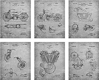 Harley Davidson Patent Art Prints - Set of 6 Photos (8 X 10, Grey Parchment)