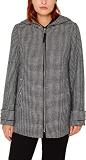 Women's Houndstooth Wool A-Line Coat