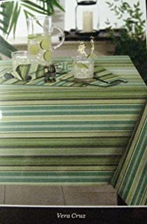 Tommy Bahama Indoor Outdoor Water Repellent Vera Cruz Stripe Tablecloth Assorted Sizes 100% Polyester (70 Round)