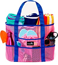 Dejaroo Mesh Beach Bag – Toy Tote Bag – Large Lightweight Market, Grocery & Picnic Tote with Oversized Pockets (Pink with Blue Handles)