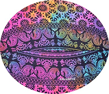 "ANJANIYA - 32"" Elephant Mandala Bohemian Yoga Meditation Floor Pillow Cover Comfortable Home Bed Sofa Cushion Couch Seati"