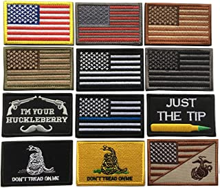 Bundle 12 Pieces USA Flag Patch Thin Blue Line Tactical American Flag US United States Military Morale Patches Set for Cap...