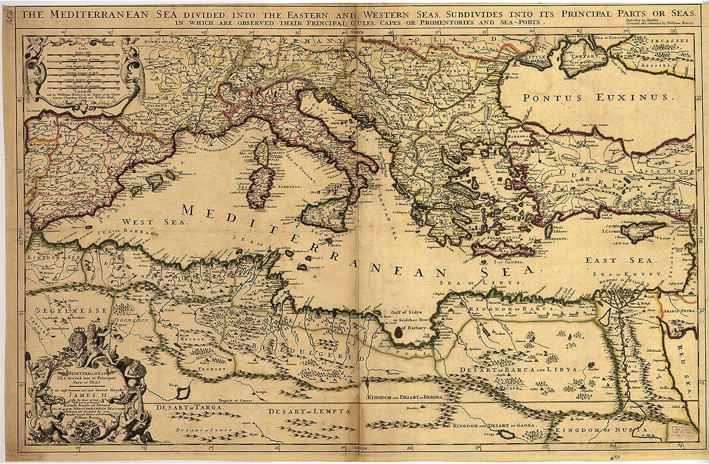 Map of Mediterranean Sea; Historic Map 17th Century