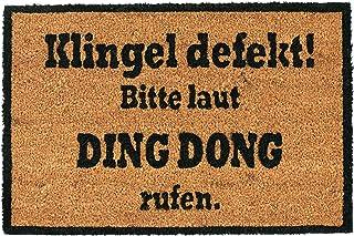 Relaxdays Felpudo Exterior Antideslizante «Ding Dong», Fibra de Coco-PVC, Marrón-Negro, 40 x 60 cm