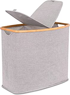 BIRDROCK HOME Divided Bamboo & Canvas Hamper - Double Laundry Basket with Lid - Modern 2 Section Foldable Hamper - Cut Out Handles - Grey Narrow Design - Great for Kids Adults