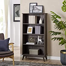 Newport Series Wooden Tall Modern 5 Tier Bookcase Book Shelf Media Storage Organizer | Sturdy and Stylish | Easy Assembly | Smoke Oak Wood Look Accent Living Room Home Office Furniture