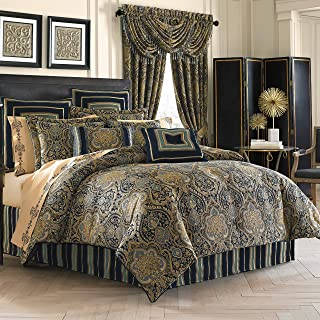 Five Queens Court Palmer Damask Luxury 4 Piece Comforter Set, King, Teal Navy Gold,