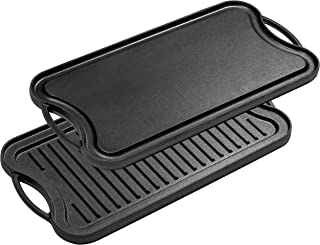 Bruntmor, Pre-Seasoned Cast Iron Reversible Grill/Griddle Pan, 20-inch x 10-inch
