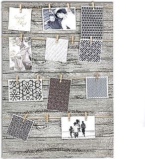 TH Portafotos múltiple Marcos de Fotos Variado con Cuerdas y Pinzas de Madera en Fondo de Tela Fotos Personalizadas. (50x70cm)