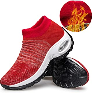 YHOON Women's Walking Shoes - Sock Sneakers Slip on Mesh Platform Air Cushion Athletic Shoes Work Nurse Comfortable Fur Lined Red 5.5