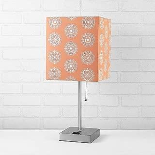 Urban Shop Fabric Coral Shade Metallic Base Lamp