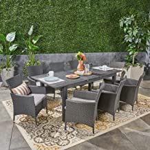 Great Deal Furniture Austin Outdoor 9 Piece Wood and Wicker Expandable Dining Set, Dark Gray and Gray and Silver