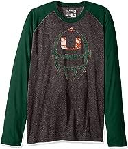 adidas NCAA Miami Hurricanes Adult Men White Noise Helmet Ultimate Raglan L/S Tee, Large, Dark Grey Heathered/Dark Green