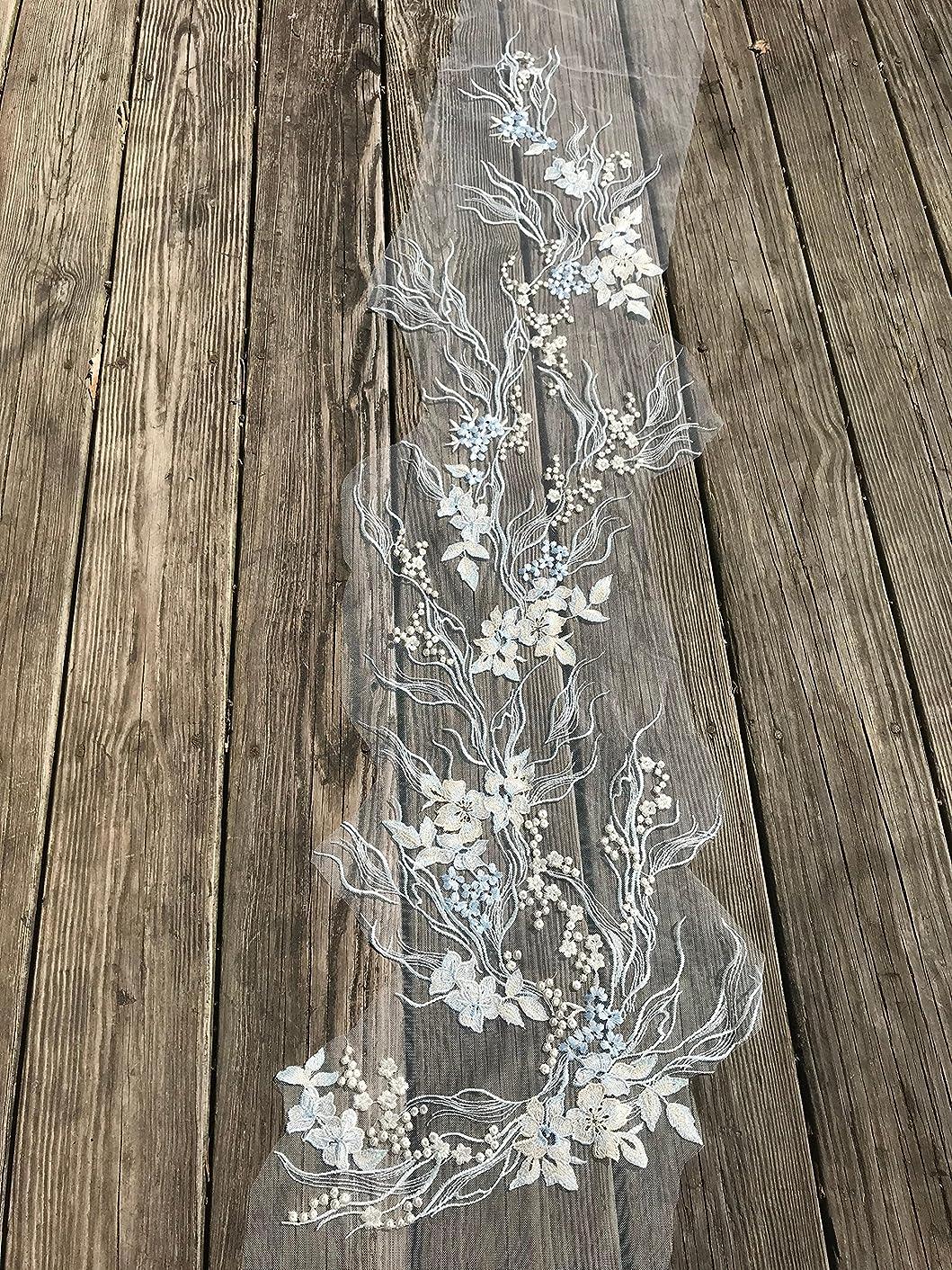 #5 1Pc Blue and white wedding applique,Wedding Dress applique, Lace Neckline Trim Applique Embroidery Patch, Embellishments Decorative Patches