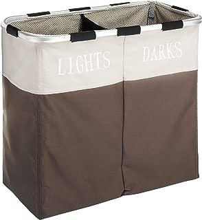 Whitmor Easycare Double Laundry Hamper - Lights and Darks Separator - Java