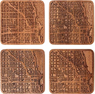 Chicago Map Coaster by O3 Design Studio, Set Of 4, Sapele Wooden Coaster With City Map, Handmade