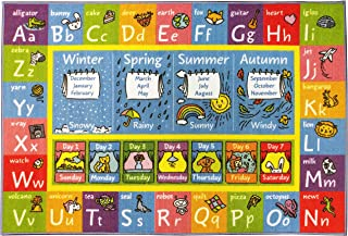 KC Cubs Playtime Collection ABC Alphabet, Seasons, Months and Days of The Week Educational Learning Area Rug Carpet for Kids and Children Bedrooms and Playroom (5' 0