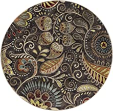 Giselle Transitional Floral Brown Round Area Rug, 5' Round