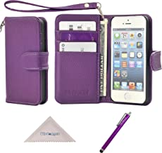 Wisdompro iPhone SE 5s 5 Case, Premium PU Leather 2-in-1 Protective Folio Flip Wallet Case with Multiple Credit Card Holder Slots and Wrist Lanyard for Apple iPhone SE/5s/5 (Purple)