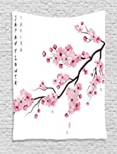 Ambesonne Asian Tapestry, Illustration of Japanese Cherry Branches with Blooming Flowers Spring Themed Boho Art, Wall Hanging for Bedroom Living Room Dorm Decor, 40
