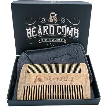 Bartkamm, fein- und grobgezähnt, in Kunstlederetui mit Geschenkschatulle. Gut verwendbar zusammen mit Bartöl und Balsam.