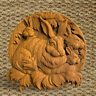 Hares Ornament Wood wall Plate nature wood wall round art Wooden Wall decorative animals Wall home decor pediments Wood carving