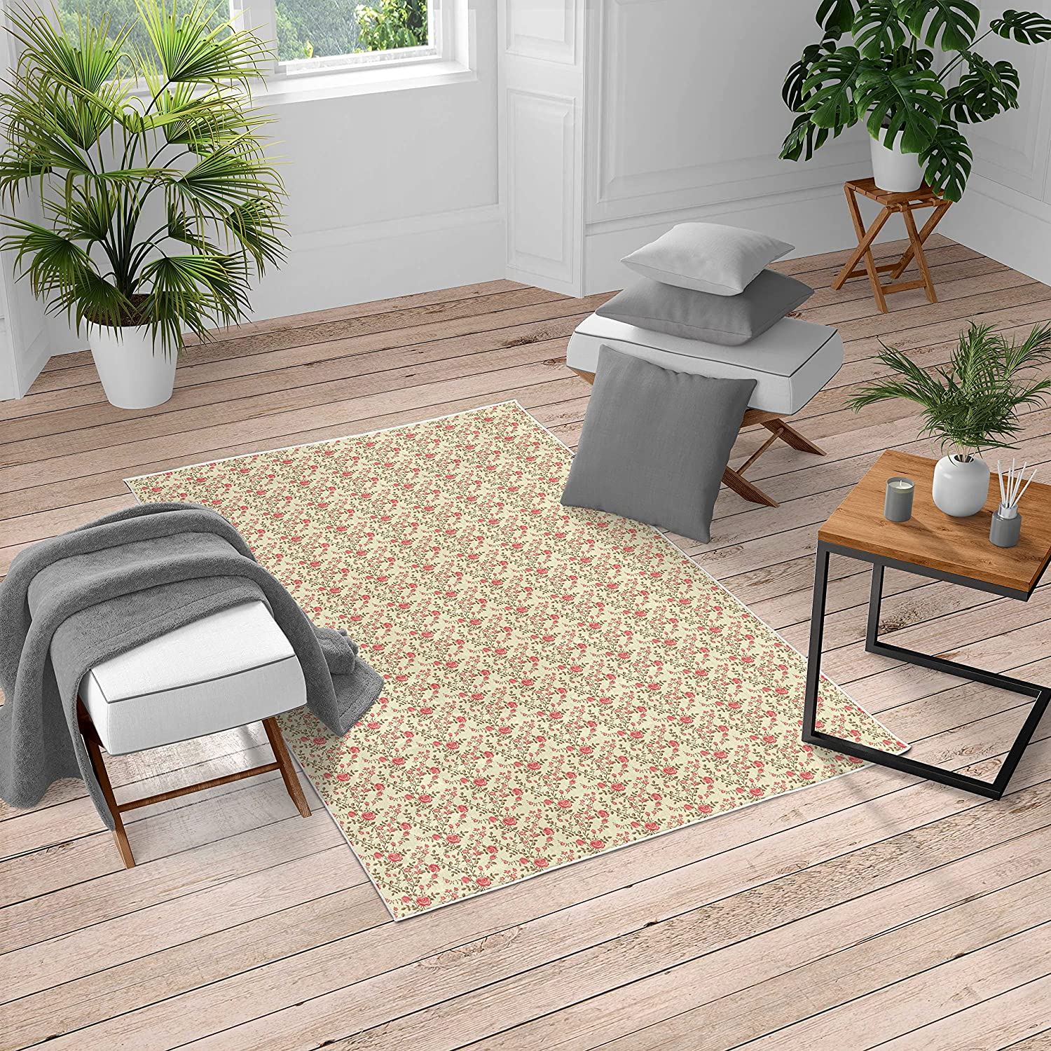 Lunarable Rose Turkish Area Rug Limited time trial price Indianapolis Mall Leaf Roses Pattern Flora Garden