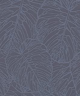 Leaf Pattern Wallpaper Dark Grey and Pewter Rasch 609318