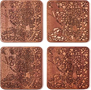 Madrid Map Coaster by O3 Design Studio, Set Of 4, Sapele Wooden Coaster With City Map, Handmade