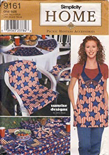Simplicity Home Sewing Pattern 9161 - Use to Make - Picnic Hostess Accessories - Casserole and Cake Pan Carriers, Paper Plate, Napkin and Utensil Holders, Apron, Mitt, Tablecloth, Reversible Chair Cover, Coasters, and Place Mats