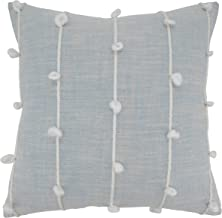 """SARO LIFESTYLE Knotted Line Design Throw Pillow, 22"""" Poly Filled, Light Blue"""