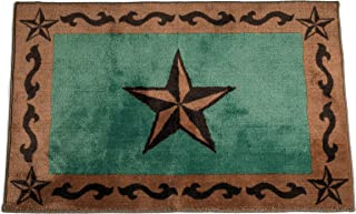 HiEnd Accents Western Star Print Rug, 24 by 36-Inch, Turquoise