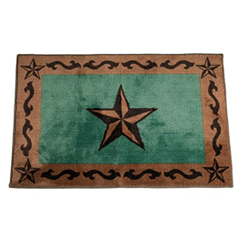 Perfect HiEnd Accents Western Star Print Rug, 24 By 36 Inch, Turquoise