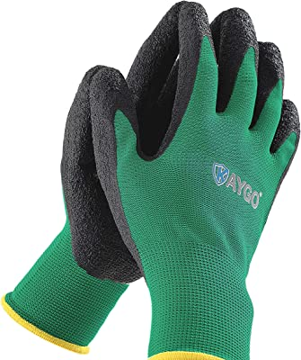 Gardening Gloves for Women and Men - 3 Pairs Breathable Latex Textured Coated Garden Gloves, KAYGO KG13LC, Working Gloves for Digging Planting, Yard work, Fishing, Home Improvement