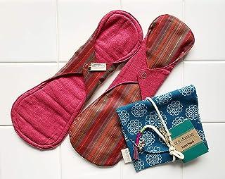 南インド「Eco Femme」布ナプキン (肌面色付・防水あり)夜用2枚+ポーチ GOTS認定品