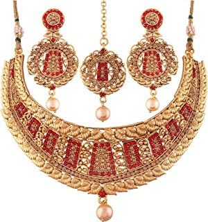اي جويلز طقم مجوهرات مطلي بالذهب ومرصع باللؤلؤ للنساء (M4091RL)