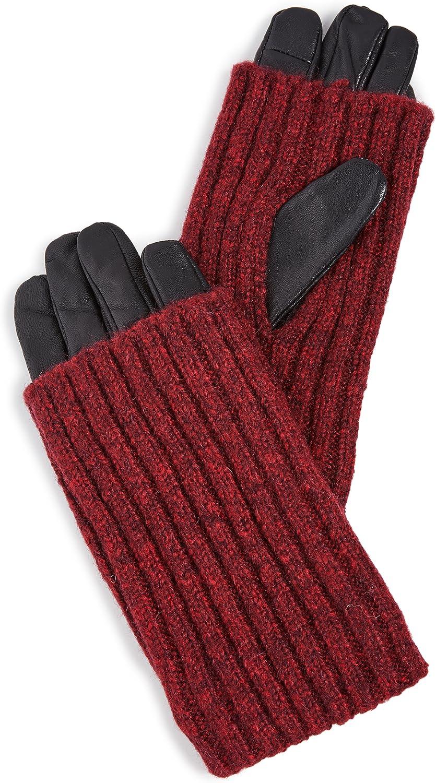 Carolina Amato Women's Touch Tech Wood Smoke Overlay Gloves, Black/Red, Small