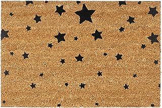 Relaxdays Felpudo para la Entrada del hogar, Patrones de Estrellas, 40 x 60 cm, Fibra de Coco y PVC, Antideslizante, Color...
