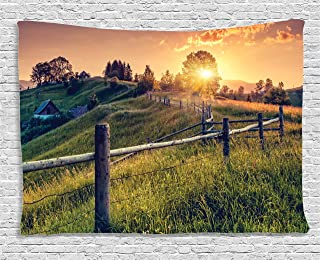 Ambesonne Europe Tapestry, Morning Sunbeams Over Countryside Farmhouse Colorful Sky Carpathian Ukraine, Wide Wall Hanging for Bedroom Living Room Dorm, 60
