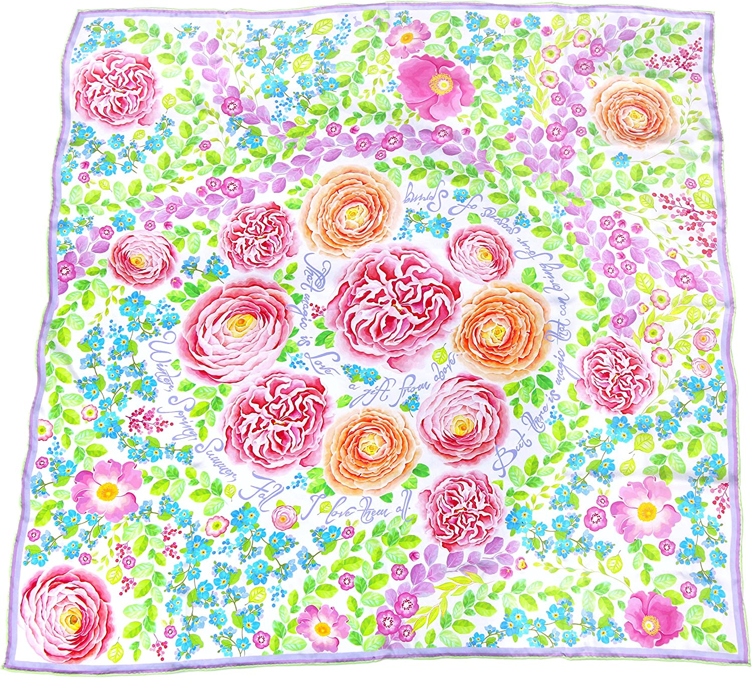 100% silk square scarf white pink floral wrap 4 Seasons of Spring   pure silk inspirational gift scarves