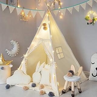 TreeBud Teepee tält för barn med vadderad matta, banderoll, älvljus, garnboll, bärväska, beige bomullsduk lektält för barn...