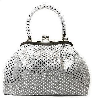 Handbag FabCloud Eve metallic white dot by WiseGloves bag handbag accessory bag clutch purse
