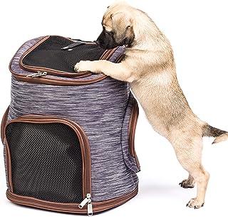 Bolsa para Mascotas - Mochila Transporte para Perros y Gatos - Transportines de Viaje Resistentes con Ventana de Malla, Cierre, Correas Cintura - Fondo Extraíble para Limpieza - 30x24x41cm