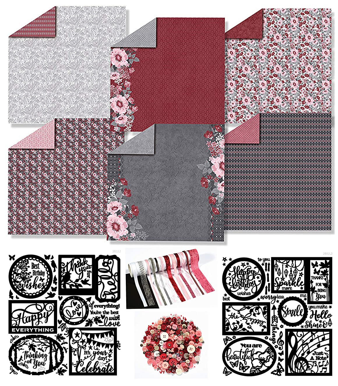 Paper Crafting Collection by Hot Off The Press   Coordinated Collection Including 12 Double-Sided Papers, Dazzles Stickers, Ribbons, and Embellishments (Ruby Rose)