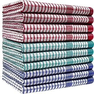 Pack of 10 Heavy Duty (80gm/pc) WonderDry Checked Cotton Kitchen Tea Towels - Absorbent - Durable & Long Lasting – Profess...