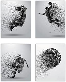 Summit Designs Basketball Wall Art Prints – Particle Silhouette – Set of 4..