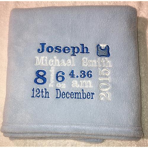 78fae636e Personalised Baby birth gift blanket keepsake birth details boy girl pink  blue white lemon baby gift