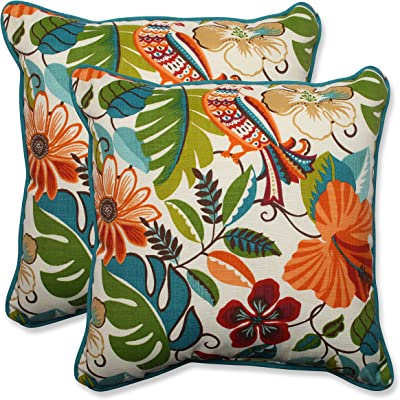 """Pillow Perfect Outdoor/Indoor Lensing Jungle Throw Pillows, 18.5"""" x 18.5"""", Off-White, 2 Pack"""